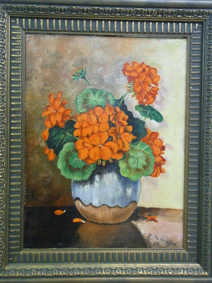 Mooie rode hortensia in vaas olieverf schilderij. Geschilderd door J.Hm.Hengel, ofzo. Wie kent deze schilder? Vraagprijs € 175.00.