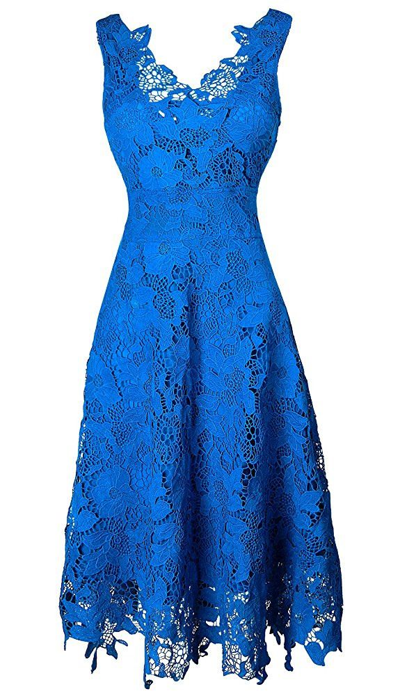 KIMILILY Women's V neck Elegant Floral Lace Swing Bridesmaid Dress	| Price:  $32.99 - $39.99 |  |
