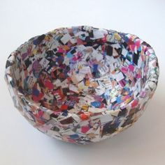 Think Crafts Blog – Craft Ideas and Projects – CreateForLess » Blog Archive » Confetti Magazine Bowl