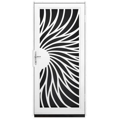 Unique Home Designs Solstice 36 in. x 80 in. White Outswing Security Door with Black Perforated Screen and Satin Nickel Hardware - IDR310003...