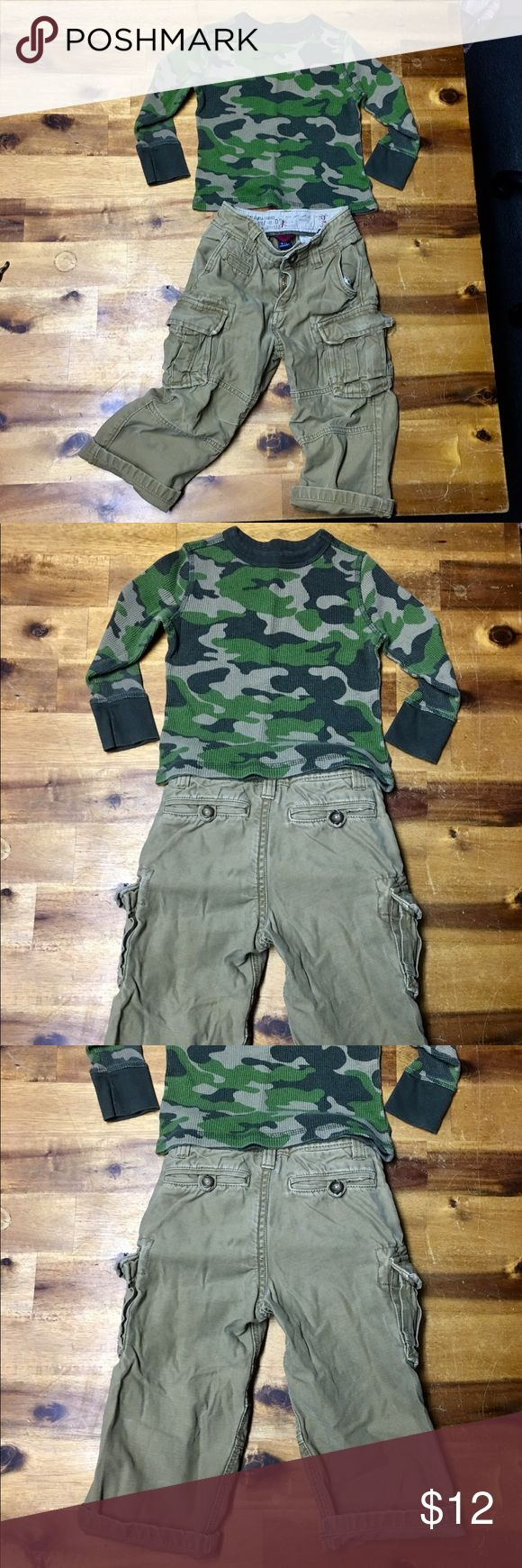 BUNDLE - Boys Gap Cargo Pants & Old Navy Top Boys Bundle 2T outfit. Gap Cargo Pants. Old Navy Thermal Camouflage Long Sleeve Top in good used condition. No stains or holes. Adorable. GAP Other