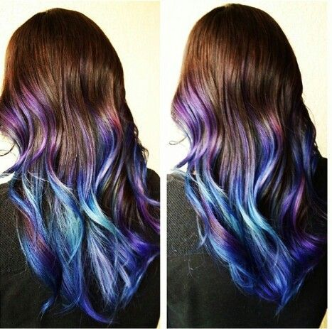 blue brown hair blue ombre hair pastel hair brown colors hair coloring ...