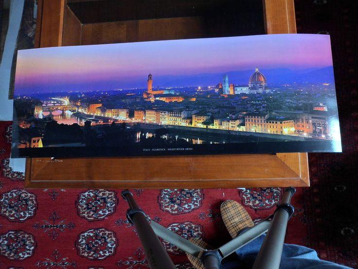 Florenz - Fluss Arno bei Nacht - Italien - Kunstdruck ( Bild Poster )