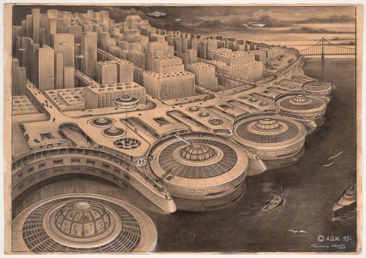 In 1950, an artist, sculptor and aerospace engineer by the name of Alexander Weygers envisioned a San Francisco with no traffic congestion. That's because, in the future, almost everyone in the city travels by flying saucer.