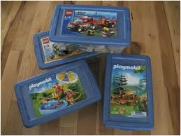 Playmobil storage idea make sleeves for instructions on outside of box.  Act as label.
