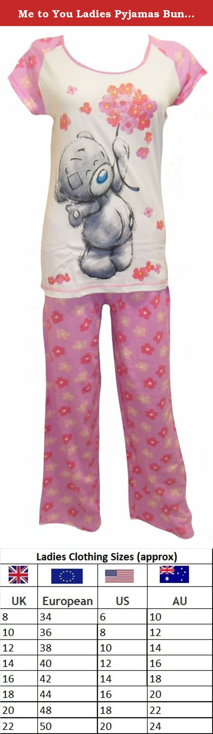 Me to You Ladies Pyjamas Bunches UK 12-14. Me to You Tatty Teddy Ladies Pyjamas. These short sleeved, long leg pants are made from 100% cotton. (Cotton like stretchable T-shirt). The pants are pink and Tatty Teddy holding abunch of flowers on the short sleeved white and pink top. These are available in sizes UK: 8-10, 12-15, 16-18, 20-22.