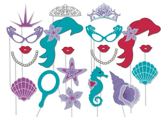 Mermaid party photo booth props printable by TheQuirkyQuail, $8.00