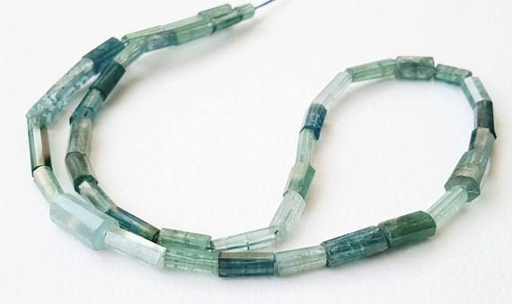 6.5 Inch Rare Blue Tourmaline Faceted Pipe Beads 6-11mm