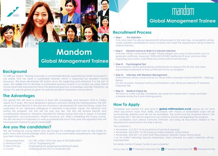 Be part of Mandom Indonesia by JOINING their Global Management Trainee >> http://bit.ly/2hiGcL5   DEADLINE: 15 November 2017