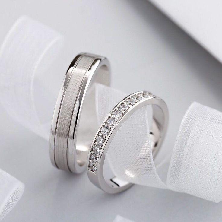 Anneaux De Mariage En Or Blanc En 2020 Bague De Mariage Homme Bague Fiancaille Ensemble Pour Mariage