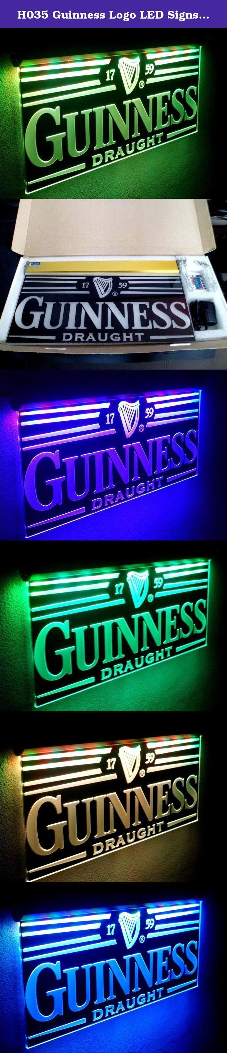 "H035 Guinness Logo LED Signs Open Bar Neon Light Large Quality Animated Flashing by Led Sport Logo Signs. ""NEW""Style LED Light Sign by Led Sport Logo Signs Comes Complete With Everything You Will Need To Use Immediately. The Bright Glow Of LED Signs Can Attract Customers Like Nothing Else. LED Signage Will Make A Huge Impact On Your Customers. LED Light Signs Can Be Left on 24 Hours a Day, Just Plug It In and Let It Attract Business For You. It's a lot more cost effective then the..."