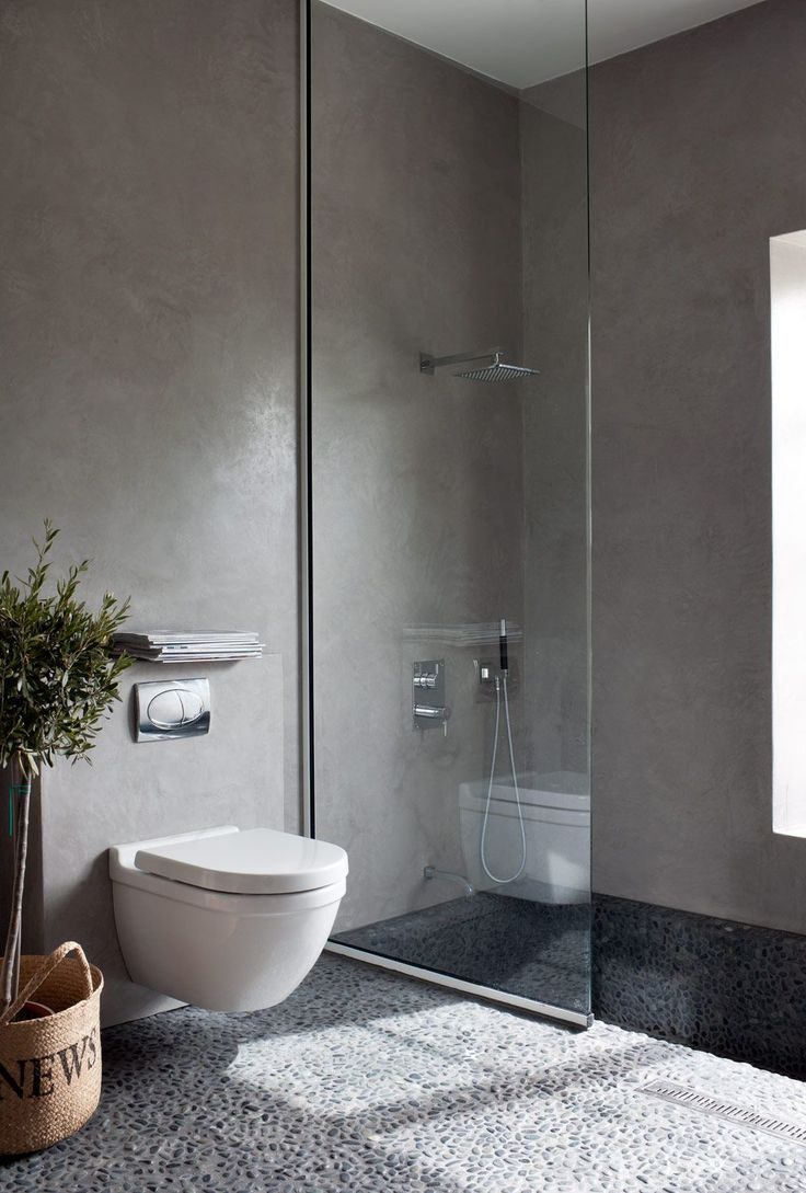 Wastafel and shower unit position. Glass divider, cement grey walls