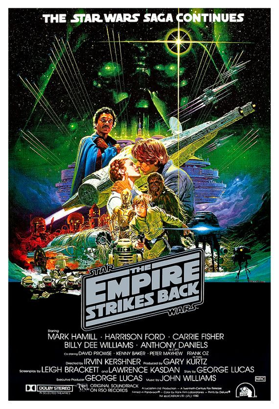 The Empire Strikes Back - Darth Vader - Stormtroopers - Lando -13x19  Classic Sci Fi  Movie Poster Art - Starwars Han Solo R2D2 C3PO