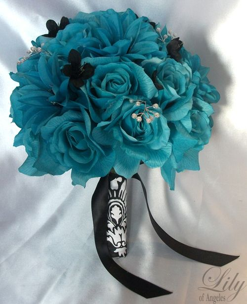 Damask Wedding Centerpieces with Red | 17pieces Wedding Bridal Bouquet Flowers Turquoise Pearls Bride ...