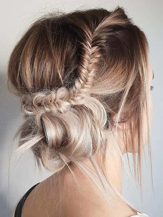 32 Romantic Fishtail Messy Braided Updo Hairstyles For 2018 Bun