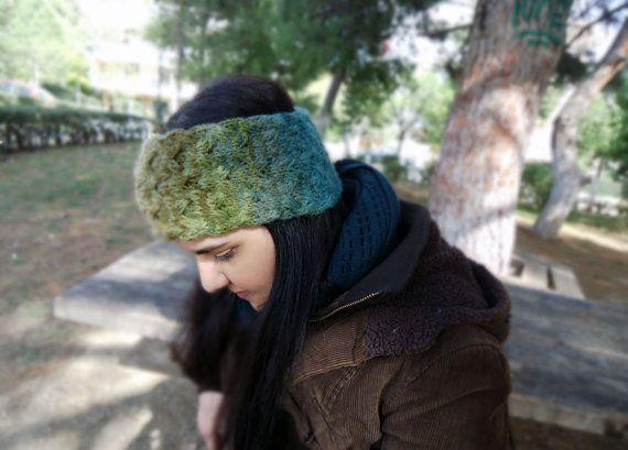 Hand knit headband wide headband women's knit headwrap knit earwarmer by AlkistiKnits