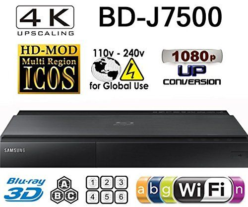 SAMSUNG BD-J7500 - 2K/4K Upscale - 2D/3D - Wi-Fi - Dual HDMI - Multi System Region Free Blu Ray Disc DVD Player - PAL/NTSC - USB - 100-240V 50/60Hz for World-Wide Use & 6 Feet HDMI Cable