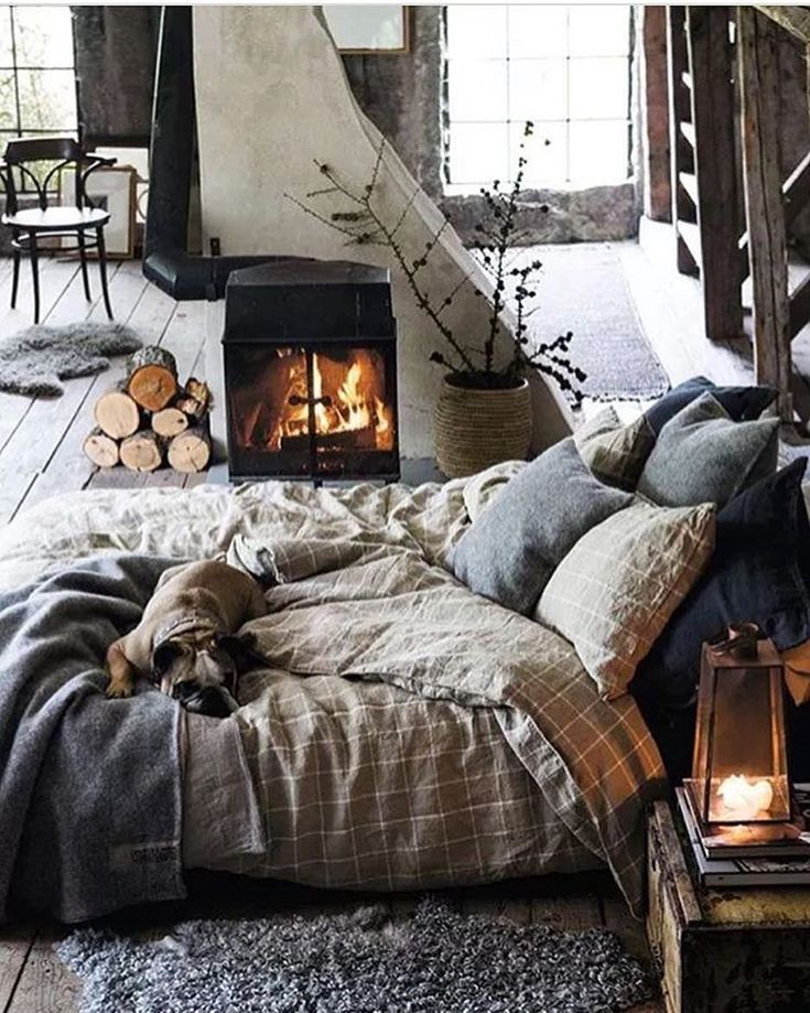 """5,025 Likes, 27 Comments - Vibeke J Dyremyhr (@interior_delux) on Instagram: """"Sweet dreams  #bedrooms #bedroomdecor #bedding #fireplace #soverom #interior_delux Via…"""""""