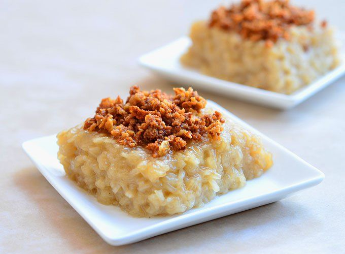 Biko is a Filipino dessert made with glutinous rice cooked in coconut milk and sugar and topped with coconut milk curds
