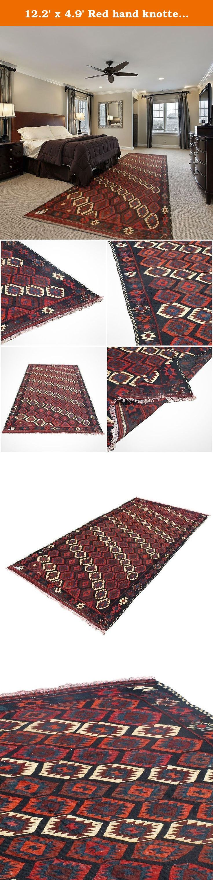 """12.2' x 4.9' Red hand knotted Kilim rug, Wool Oriental Kilim rug, Traditional design Kilim rug. Code:R0101475. hand woven rug which comes from a pure lamb wool sheared at the Beginning of spring and a mixture of organic colors. It would make your place more attractive with its red and color. Really traditional and Classic design. Size: 12'2"""" x 4'9"""" Weight: 29 Ib Product's Code: R0101475 As an advantages of years of being in this business our price is lower in comparison with other carpet..."""