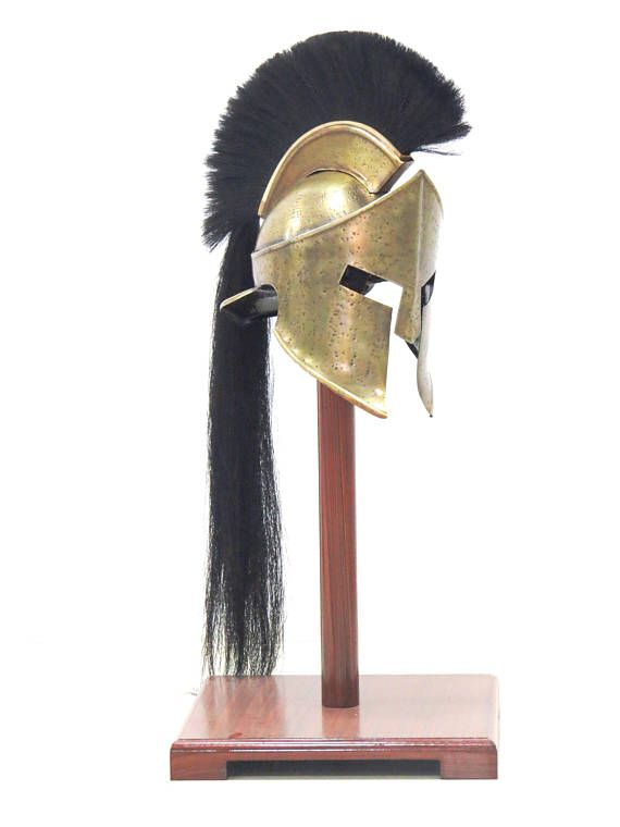 300 Leonidas Helmet Licensed Spartan Helmet With Long Black Plume,  Handmade and fully wearable helmet. High quality replica of the helmet from the movie 300. Made Of Good Quality Steel In brass antique finish. Great For LARP, Halloween, Theatrical Play, Fantasy, Historical Reenactments. Adult Size Wearable Helmet Durable finish and attractive appearance. The edges are carefully rolled, which makes them comfortable and safe as for the wearer, so for the teammates and opponents. As good as…