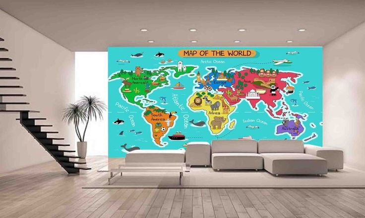 Map of the World Wall Mural Photo Wallpaper GIANT DECOR Paper Poster Free Paste | eBay