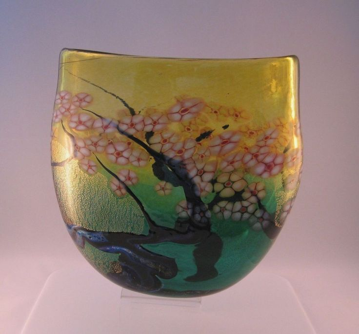 Robert Held Cherry Blossom Flat Crucible Vase Green + Amber with Golden Finish #RobertHeld