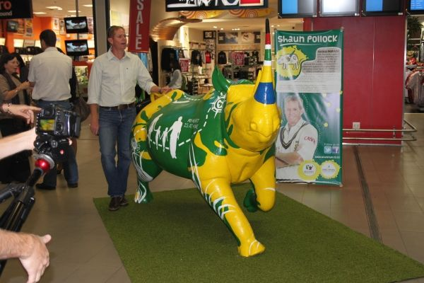 The 2012 Rhino Parade is currently being shaped and has drawn together another group of incredible South Africans. Amidst much excitement, Patrick Lambie and Shaun Pollock unveiled their rhinos at King Shaka Airport. Graphic Design students at the Durban University of Technology (DUT) transformed the rhino sculptures into true works of art. -- at King Shaka International Airport.