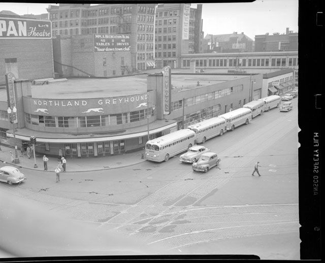 Minneapolis Greyhound Bus Depot, First Ave North and Seventh Street, 1949