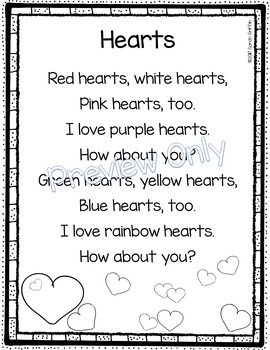 Hearts poem for kids | Valentines Day | Color Words | Poem of the week | poetry notebook | Preschool | Kindergarten |