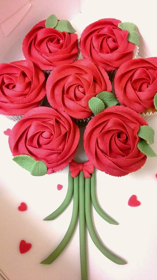 Red rose cupcake bouquet board. Valentines Daye. Birthday. Gift. Bespoke cupcakes and cakes designed and handmade by A Taste of Wonderland
