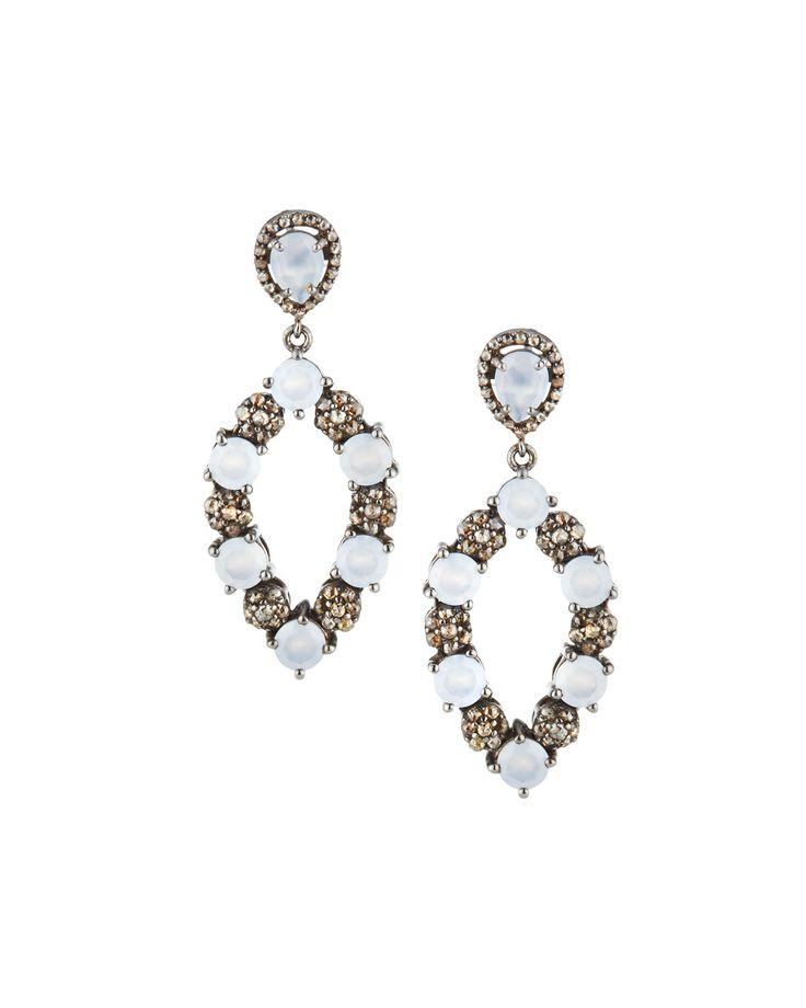Bavna Round Moonstone & Diamond Open Drop Earrings fqqgHn