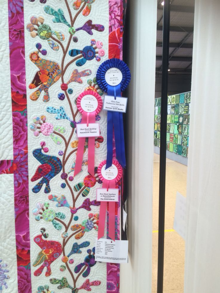 Carol Newsham made a Kim McLean pattern and won Best Hand Appliqué or Embellishment, sponsored by The Embroiderer, Best Hand Quilting, sponsored by Patchwork Passion and First Prize Professional Bed Quilts, sponsored by Donnas Quilt Studio.