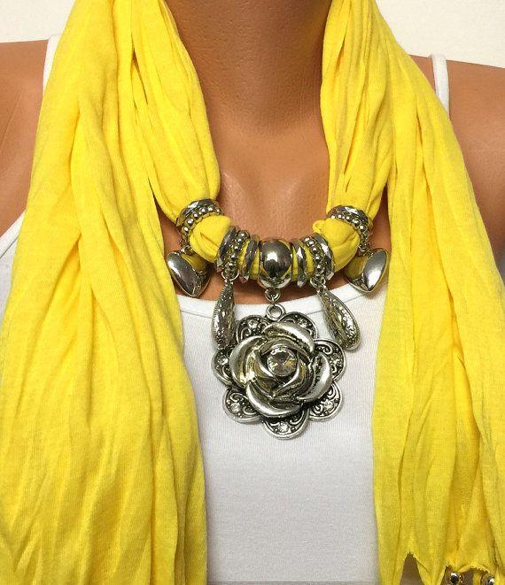 Yello jewelry scarf with flower pendant Christmas by BienBijou