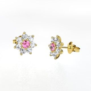 Round Pink Sapphire 14K Yellow Gold Earrings with White Sapphire - perspective