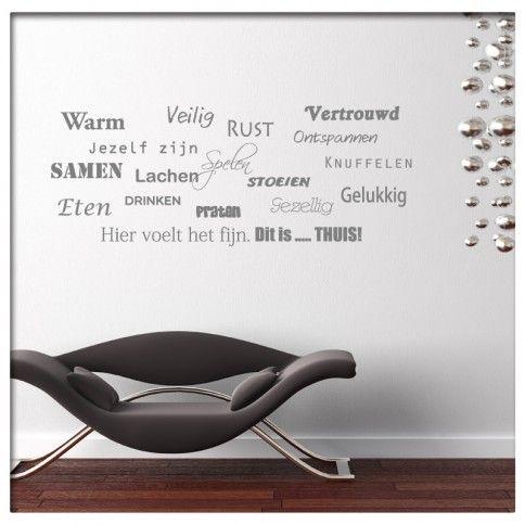 Muursticker Tekst warm veilig gelukkig | Saynomorewebshop.nl