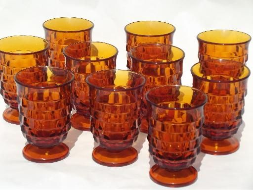 Fun drinking glasses!  Or, y'know, maybe just for display...  vintage amber glass Whitehall cube juice glasses, 10 footed tumblers  #LGLimitlessDesign #Contest