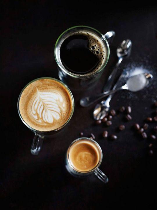 black coffee, latte, and espresso