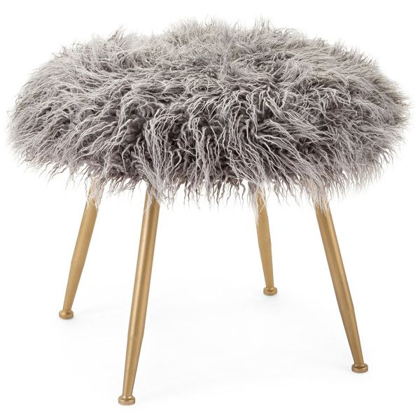 Imax Vadden Fuzzy Stool ($80) ❤ liked on Polyvore featuring home, furniture, stools, faux fur furniture, round stool, faux fur stool and round furniture