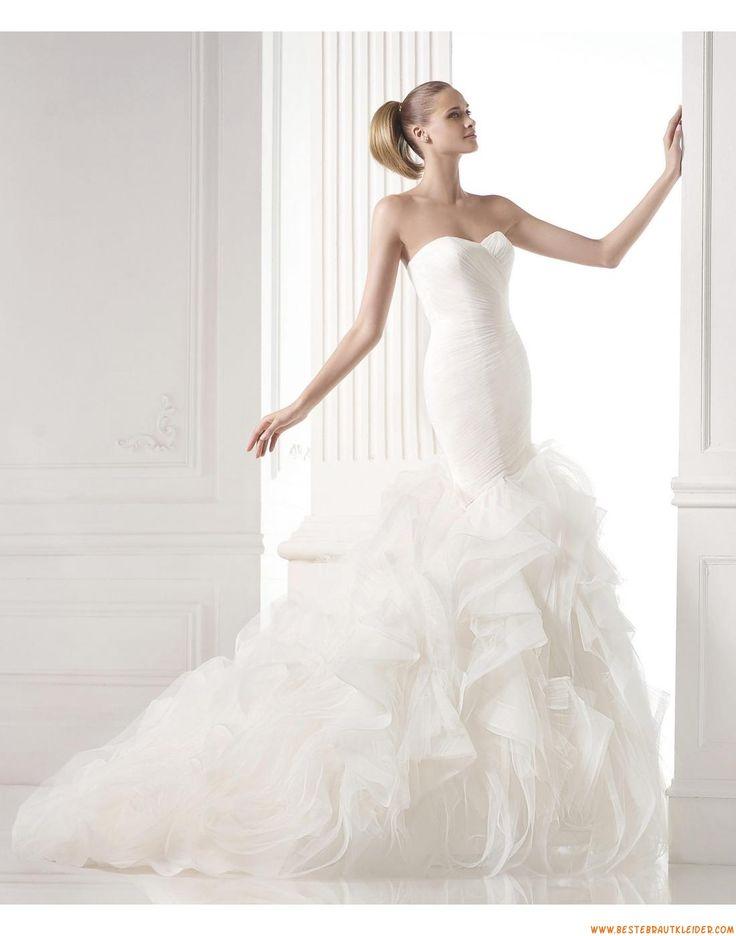 2015 Meerjungfrau Schicke Aktuelle Brautkleider aus Organza mit Schleppe