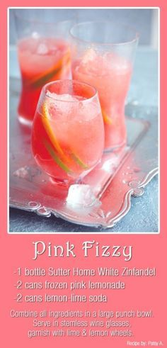 Sig cocktail option for a spring or summer coral wedding. (Cheap too, cuz you can pick up the white zin at Costco!)