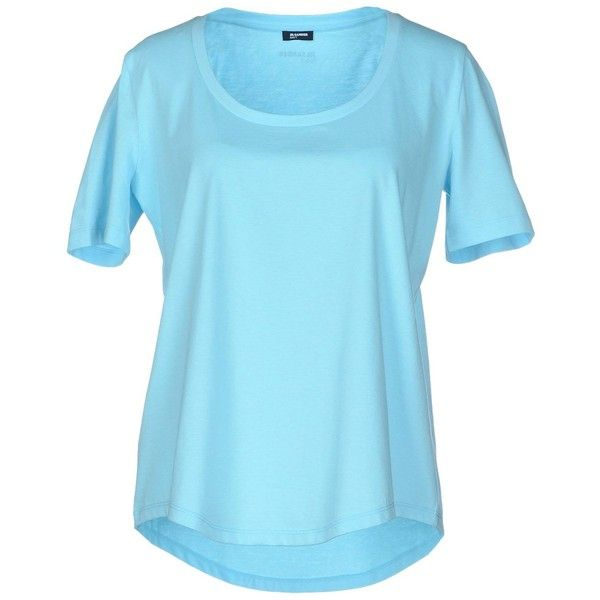 Jil Sander Navy T-shirt ($64) ❤ liked on Polyvore featuring tops, t-shirts, sky blue, short sleeve tops, blue top, blue t shirt, blue tee and short sleeve tee