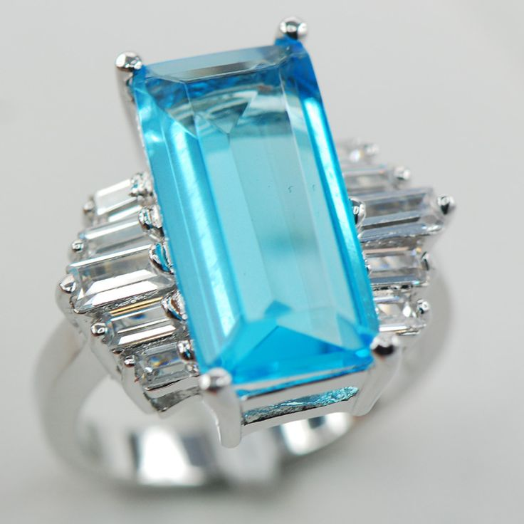 Blue Crystal Zircon White Crystal Zircon Women 925 Sterling Silver Ring F873 Size 6 7 8 9 10