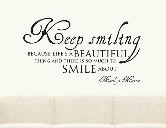 Keep Smiling Merilyn Monroe Quote Wall Sticker Mural Decal Vinyl on Etsy, $33.32 CAD