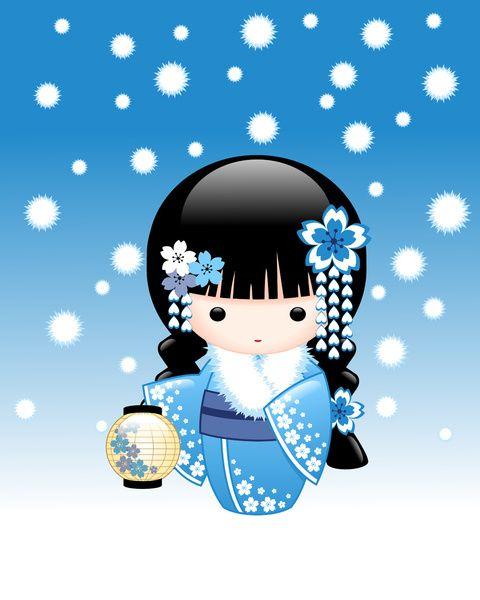 Winter Kokeshi Doll Art Print by Chibibi | Society6