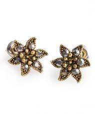 Bronzszínű virág fülbevaló fémből, szürke kristályokkal