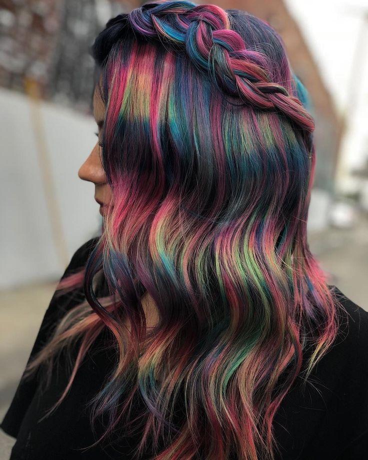 Cute Hair Colors, Beautiful Hair Color, Hair Dye Colors, Cool Hair Color, Vivid Hair Color, Pinterest Hair, Mi Long, Pretty Hairstyles, Rainbow Hairstyles