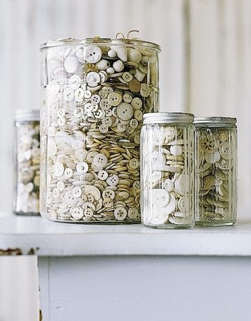 I love jars of white and cream buttons...I have some on my desk.