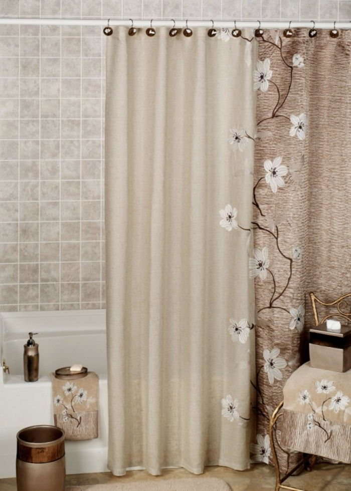 Flower Brown Bathroom Shower Curtains And Matching Accessories