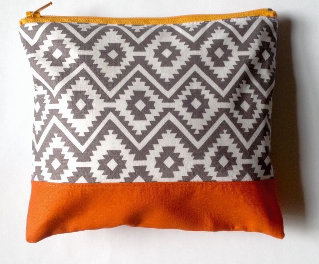 Gorgeous cosmetics bag in contrasting grey and orange for $13.85